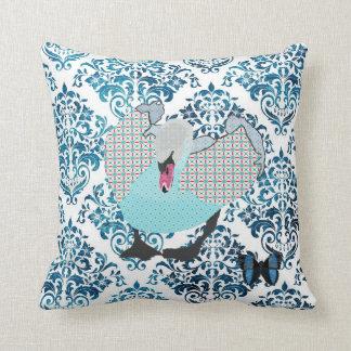 Cisne da água-marinha do cinza & damasco Mojo Pi d Travesseiros De Decoração