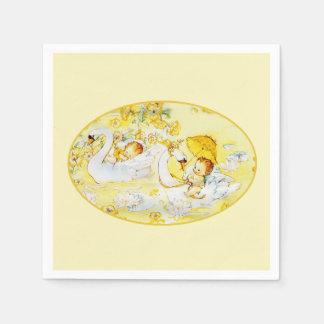 Cisne dos guardanapo do chá do amarelo do bebé