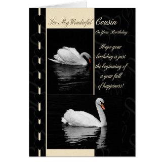 Cisnes do cartão de aniversário do primo