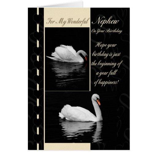 Cisnes do cartão de aniversário do sobrinho