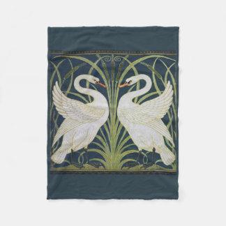 Cisnes em pássaros azuis de Nouveau Cobertor De Velo