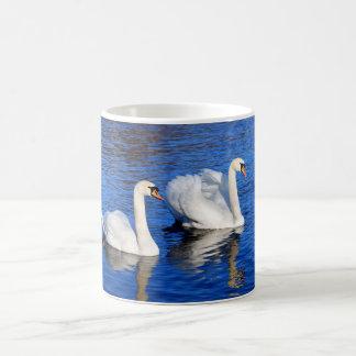 Cisnes na foto azul da água do lago caneca de café