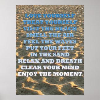 Citações Beachy em uma fotografia do Sandy Beach Pôster