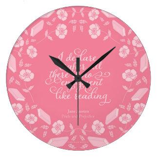 Citações Bookish florais de Jane Austen do orgulho Relógio Grande