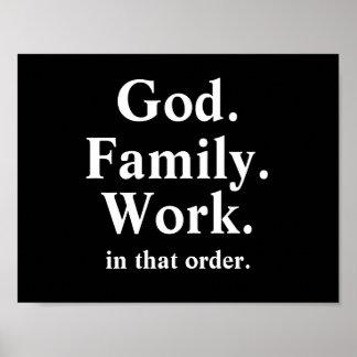 Citações da ordem de trabalho da família do deus pôsteres
