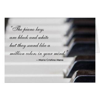 Citações das chaves do piano cartão comemorativo