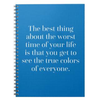 Citações das cores verdadeiras cadernos
