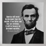 Citações de Abraham Lincoln na liberdade Impressão