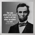 Citações de Abraham Lincoln no sucesso Posteres