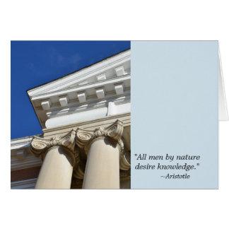 Citações de Aristotle e cartão da graduação das