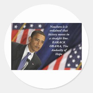 Citações de Barack Obama na história Adesivo Redondo