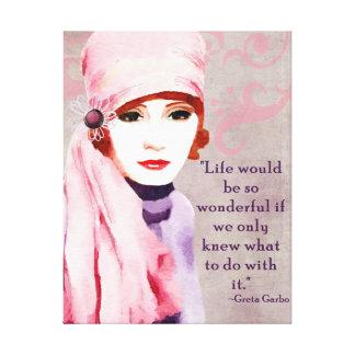 Citações de Greta Garbo na vida Impressão De Canvas Envolvida