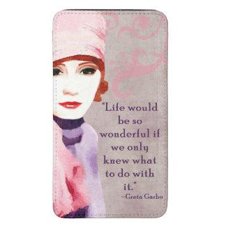 Citações de Greta Garbo na vida Bolsa Para Celular Galaxy S5