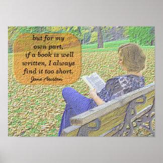 Citações de Jane Austen - arte do poster Pôster