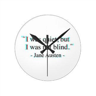 Citações de Jane Austen Relógio Redondo
