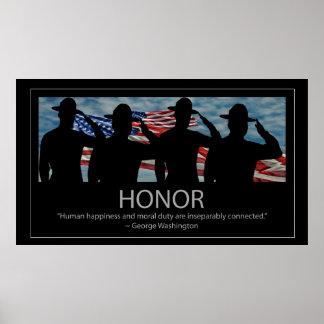 Citações de saudação dos sargentos e da honra pôsteres