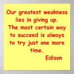 Citações de Thomas Edison Poster