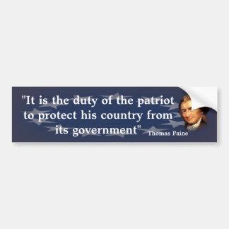 Citações de Thomas Paine no dever do patriota Adesivo Para Carro