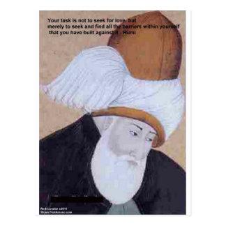 """Citações do amor de Rumi """"obstáculos"""" em cartões"""