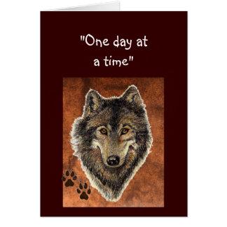 """Citações do lobo & das trilhas """"um dia de cada vez cartão comemorativo"""