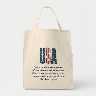 Citações do orgulho nacional de Abraham Lincoln Bolsa Tote