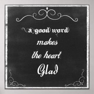 Citações do quadro uma boa palavra poster