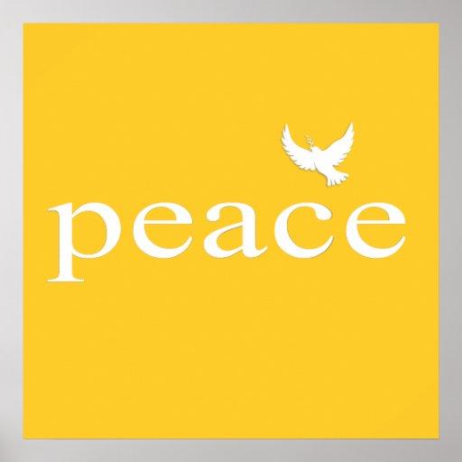Citações inspiradas amarelas da paz poster