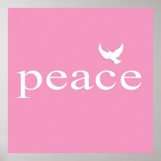 Citações inspiradas cor-de-rosa da paz impressão