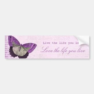 Citações inspiradas da borboleta feminino adesivo para carro