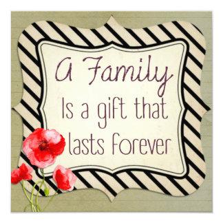 Citações inspiradas da família convite quadrado 13.35 x 13.35cm