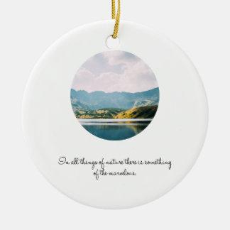Citações inspiradas da foto do círculo da montanha ornamento de cerâmica redondo