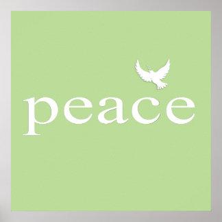 Citações inspiradas verdes da paz pôsteres