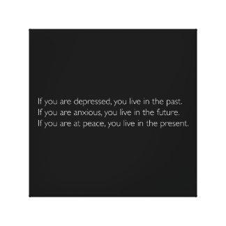 Citações inspiradores a viver no presente impressão em tela