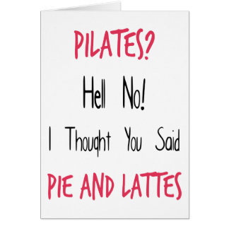 Citações, preto e rosa engraçados de Pilates Cartão