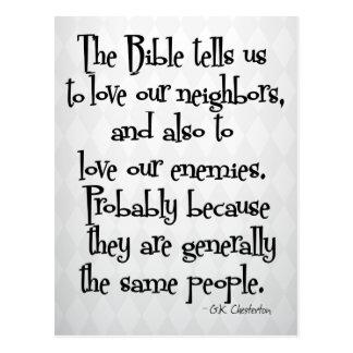 Citações religiosas cristãs engraçadas GK Cartão Postal