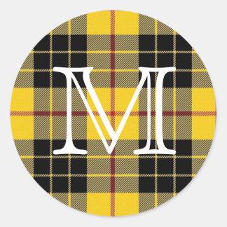 Clã escocês MacLeod do monograma do Tartan de Adesivo Redondo