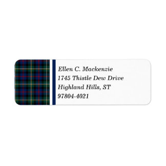 Clã Tartan escocês azul escuro e verde de Malcolm Etiqueta Endereço De Retorno