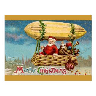 Clapsaddle: Papai Noel no zepelim Cartão Postal