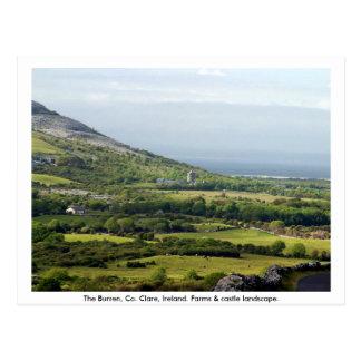 Clare, Ireland, casas da quinta & campos em Cartão Postal