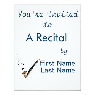 Clarinete baixo com notas da música convite personalizados