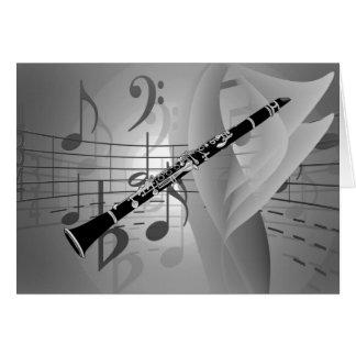 Clarinete com acentos musicais cartão de nota