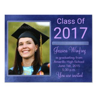 Classe azul do Grunge da foto 2017 da graduação Convite 10.79 X 13.97cm