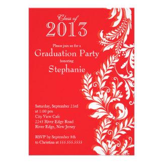 Classe branca vermelha elegante da festa de format convites personalizado