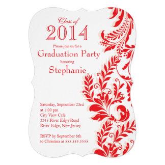 Classe branca vermelha elegante da festa de format convite personalizado