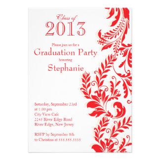 Classe branca vermelha elegante da festa de format convite personalizados