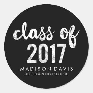 Classe chique do giz | da graduação 2017 adesivo redondo