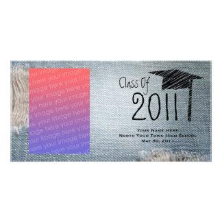 Classe da graduação de 2011 calças de ganga cartao com fotos