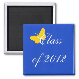Classe de 2012 - borboleta do azul e do ouro ímã quadrado