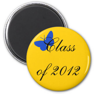 Classe de 2012 - borboleta do azul e do ouro ímã redondo 5.08cm