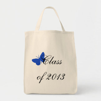 Classe de 2013 - borboleta do azul e do ouro bolsas para compras